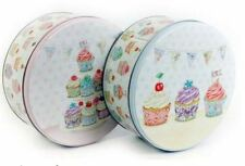 Round Cupcake Cookie Biscuit Birthday Cake Storage Boxes Tin Box Container New