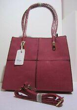 Borsa donna valigetta rosso doppia maniglia o tracolla ecopelle lavorato