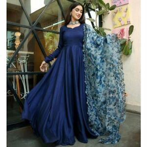 CELEBRITY GOWN COLLECTION INDIAN LONG ANARKALI SUIT GIRL'S WESTERN WEAR BLUE