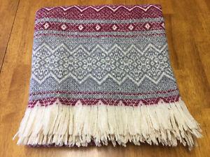 Amana Woolen Mills Wool Blend 60x60 Blanket Throw Burgundy Grey Ecru