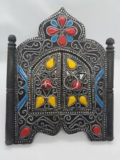 """Moroccan Wall MIRROR w/Doors Colorful Handmade Home Decor Decoration 9x7.2"""" Gift"""