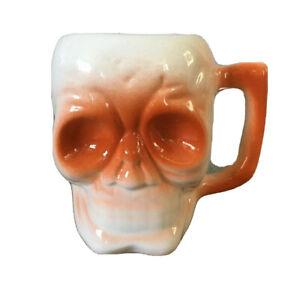 Skeleton Skull 3D Orange White Ceramic Coffee Mug Cup Vintage Halloween DW120