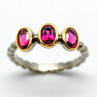 One of a kind Natural Rasberry Rhodolite Garnet 925 Sterling Silver Ring RVS185
