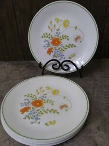 "Corelle 10.25"" WILDFLOWER Dinner Plates Set of 7 GOOD NO CHIPS OR CRACKS"