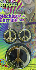60s 70s Hippie Peace Sign Necklace and Earring Set Dress Party Accessory Gold