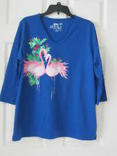 2X Flamingo Christmas Shirt--2 Flamingos Head-to-Head--Blue--NOT purple--NWT