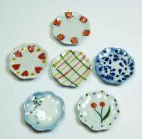 6 Mixed Dollhouse Miniature Ceramic Plates * 1-inch Doll Mini Food Dish Plate