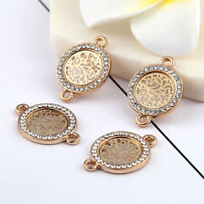 10pcs Gold Beads Connector Round Tree Rhinestones DIY Bracelet Findings 15*15mm