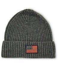 NWT Polo Ralph Lauren USA Flag Cuff Beanie Gray Hat Wool Blend