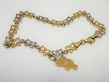 Solid 14K Yellow White Gold Butterfly Link Chain Bracelet + Pooh Charm Not Scrap