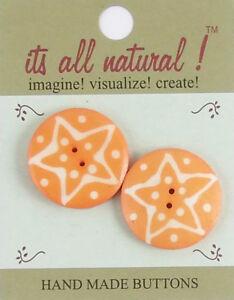 Handmade Natural Bone Buttons - Orange/White - 30mm - Star Galaxy