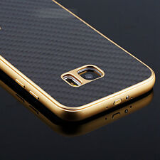 For Samsung Galaxy S7/S7 Edge  Metal Aluminum Frame+Carbon Fiber Back Stand Case