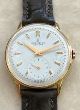 VTG BREITLING GENEVE TEXTURED WHITE DIAL  18KTS GOLD PLATED CASE FROM 1950 APROX
