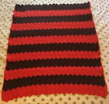 Handmade Crochet Throw Blanket Afghan Zig Zag Ripple Red Brown 36x46