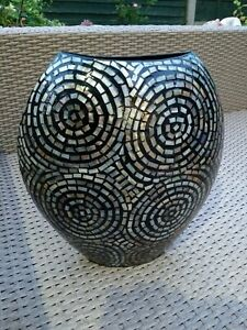 Stunning Large Handmade in Vietnam Sparkle Mosaic Vase 14 inches tall