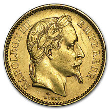 1861-1870 France Gold 20 Francs Napoleon III Laureate Avg Circ - SKU #91005