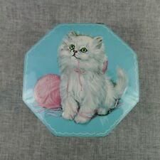 Vintage Blue Embossed Candy Tin White Persian Kitten Pink Ball of Yarn England