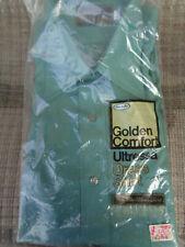Vtg 70s Golden Comfort Ultressa 16 -34 Men's Green Button Long Sleeve Shirt Nos