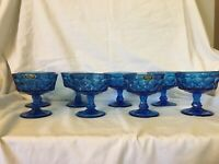 "Vintage NORITAKE PERSPECTIVE Blue 4 1/8"" Sherbet Glass Goblet Thumbprint Set 8"