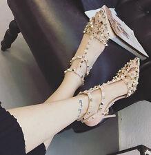 Rock Rivets Sandals T-strap Studded Slingbacks Slim Heels Black Hot Women Shoes
