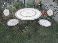 Steel &  Mosaic outdoor Patio / Garden table and Chairs