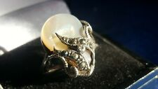 Silver 925 Mother Of Pearl & Marcasite Ladies Ring