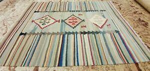 "Rare Antique Cr1920-1940's Natural Dye Hand-Spun Wool Tribal Kilim 5'7""×7'7"""