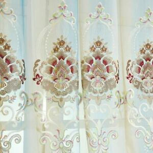 Chenille Embroidery Curtain Fabric Blackout Tulle Cloth Window Treatment Decors