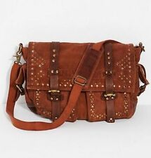 Free People NWT Studded Distressed Canvas Leather Messenger Bag Purse