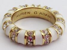 Lauren G Adams Stackable Gold Strip Tease White Ring R-63502G, Size 5  New