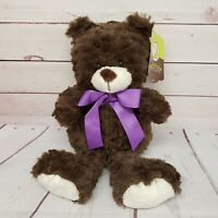 "Animal Adventure 12"" Teddy Bear Brown Purple Ribbon 2017 Plush"