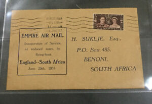 1937 special Empire Air mail cover London to S. Africa Benoni