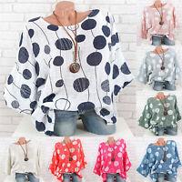 Womens Floral T-Shirt Blouse Summer Boho Loose Casual Beach Tee Tops Plus Size