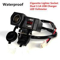 12V Waterproof Motorcycle GPS USB Charger LED Voltmeter Cigarette Lighter Socket