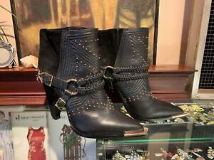 "Ivy Kirzhner ""Spurs Harness"" Black Leather Ankle Boot 18k Gold Plated Size 8"