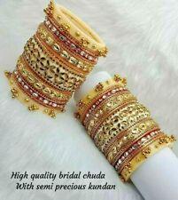 Rajwadi Dulhan Set Wedding Kundan Chura Bridal Bangle Acrylic Plastic White