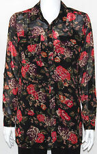NWT NY Collection Long Sleeve Floral Print Shirt w/ Roll Tabs MULTI/SMALL