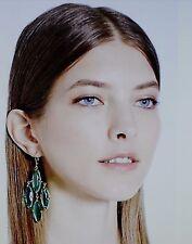 Kate Spade Gold Plated Chandelier Earrings SPARKLING AQUA TEAL BLUE Kahina DROP