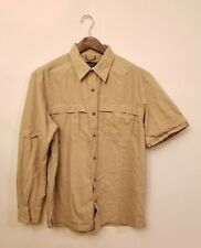 Eddie Bauer Mens Khaki Fishing Hunting Zip Off Sleeve Nylon Cotton Shirt Size L