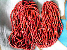 Vtg 1 HANK 3 CUT BRICK RED OPAQUE GLASS SEED BEADS 12/0 #032912o