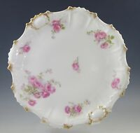 ANTIQUE COIFFE LIMOGES ROSE SPRAYS, SCALLOPED CAKE PLATE, 9.1/2""