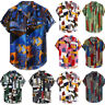 Men Hawaiian Ethnic Short Sleeve T shirt Loose Buttons Shirt Blouse Tops Beach