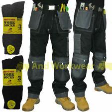 Work Trouser Tuff Multi Pocket Pants Triple Stitched Workwear FREE Work Socks
