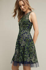New Anthropologie Pankaj & Nidhi Embroidered Fern Dress sz 8 Green beaded