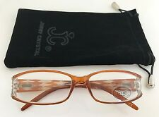 Jimmy Crystal Brown Plastic Reading Glasses with Gold Swarovski, +2.00 Lens