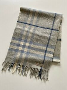 Vintage Burberry Genuine Authentic Blue Grey Cashmere Nova Check Scarf