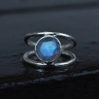 Natural Faceted Labradorite Gemstone 925 Sterling Silver Birthstone Ring Size 7
