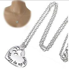 Silver Plated Always In My Heart Dog Cat Paw Pendant Necklace Collier Gift Party
