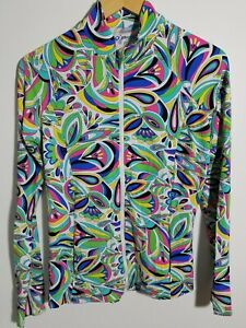1 NWT WOMEN'S IBKUL JACKET, SIZE: SMALL, COLOR: WHITE/GREEN/BLUE/PINK (J301)