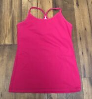lululemon Power Y Tank Pink Tank Top EUC SZ 4-6  Gym yoga spin built in bra